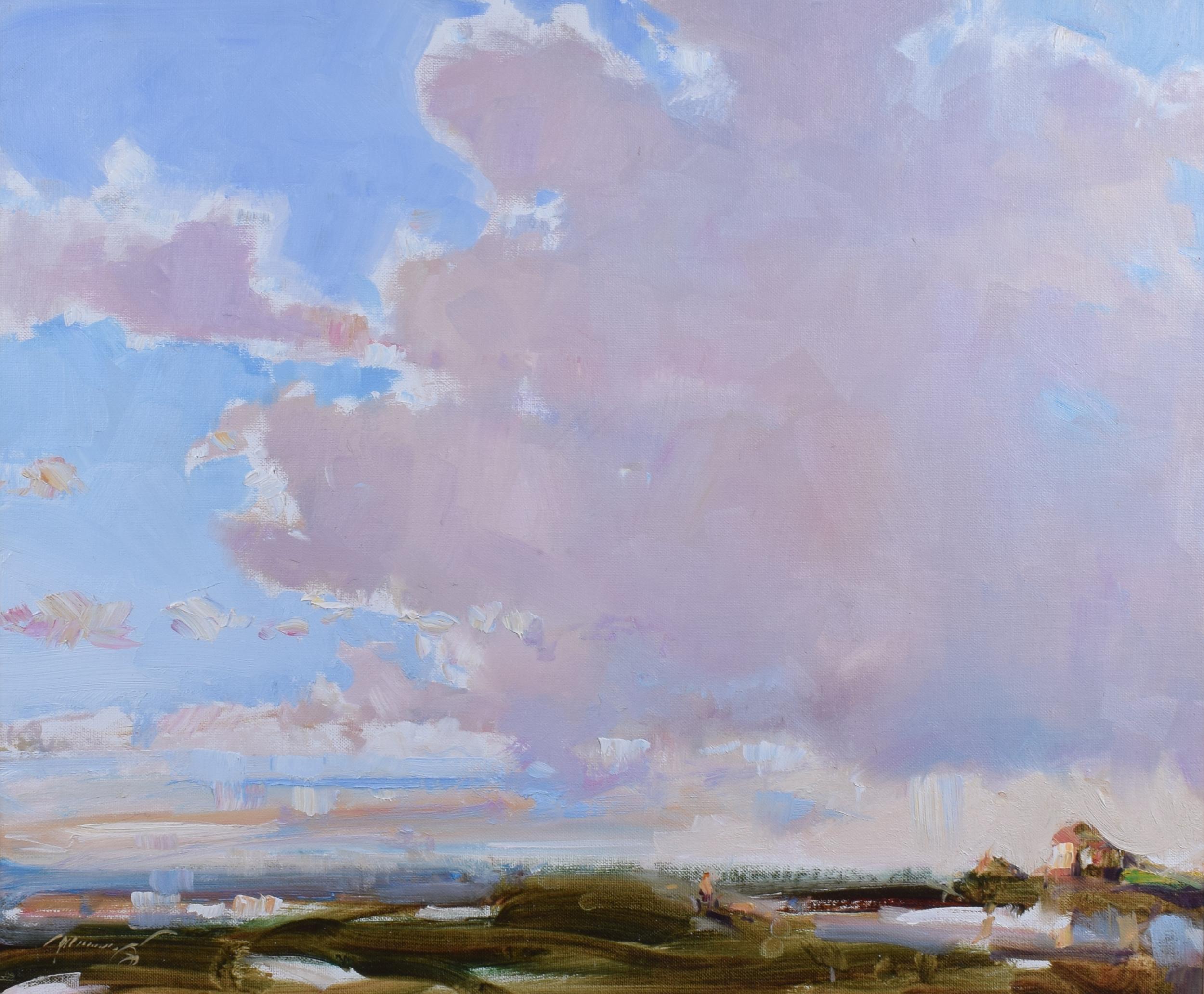 Ken Moroney The Fens Norfolk England Oil on Canvasboard painting art skies