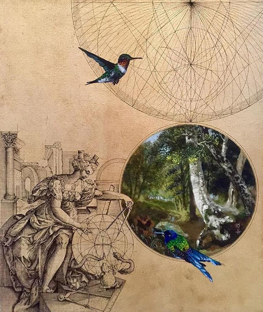 Emas 8 - contemporary collaborative decorative mixed media bird landscape art