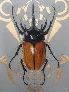 Hathor - contemporary mixed media gilding acrylic painting