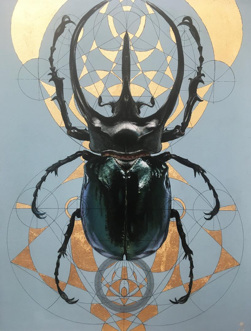Thoth - contemporary mixed media gilding acrylic painting