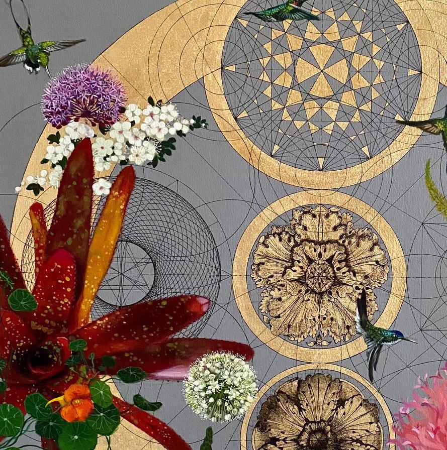 Caracalla's Gardens - contemporary mixed media colourful decorative floral
