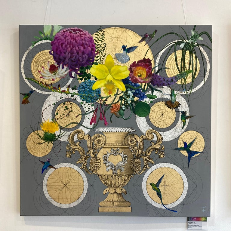 Diocletian Banquet - collaborative decorative floral geometric mixed media art - Painting by Keng Wai Lee & Marco Araldi