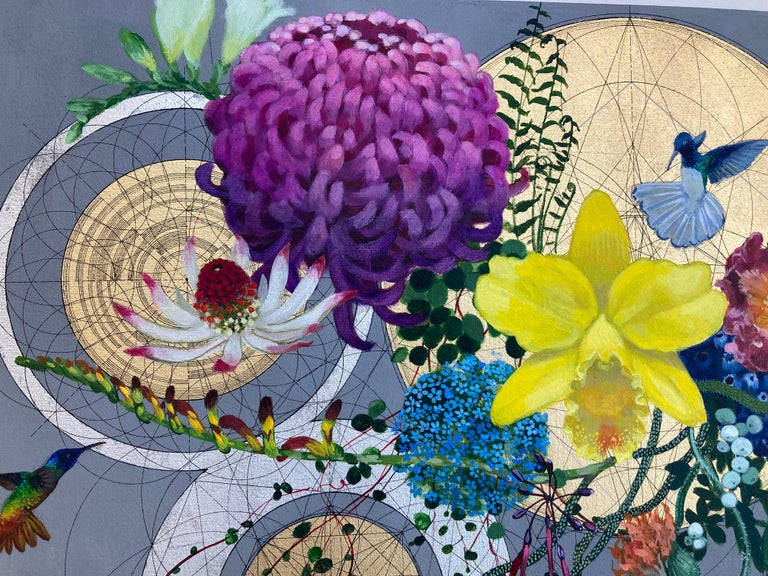 Diocletian Banquet - collaborative decorative floral geometric mixed media art - Contemporary Painting by Keng Wai Lee & Marco Araldi