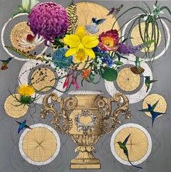 Diocletian Banquet - collaborative decorative floral geometric mixed media art