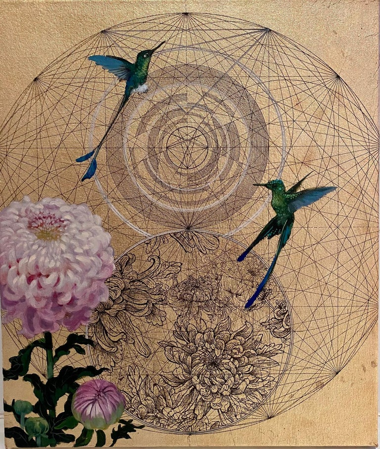 Keng Wai Lee & Marco Araldi Animal Painting - Emas 10 - contemporary collaborative ornamental floral mxied media painting