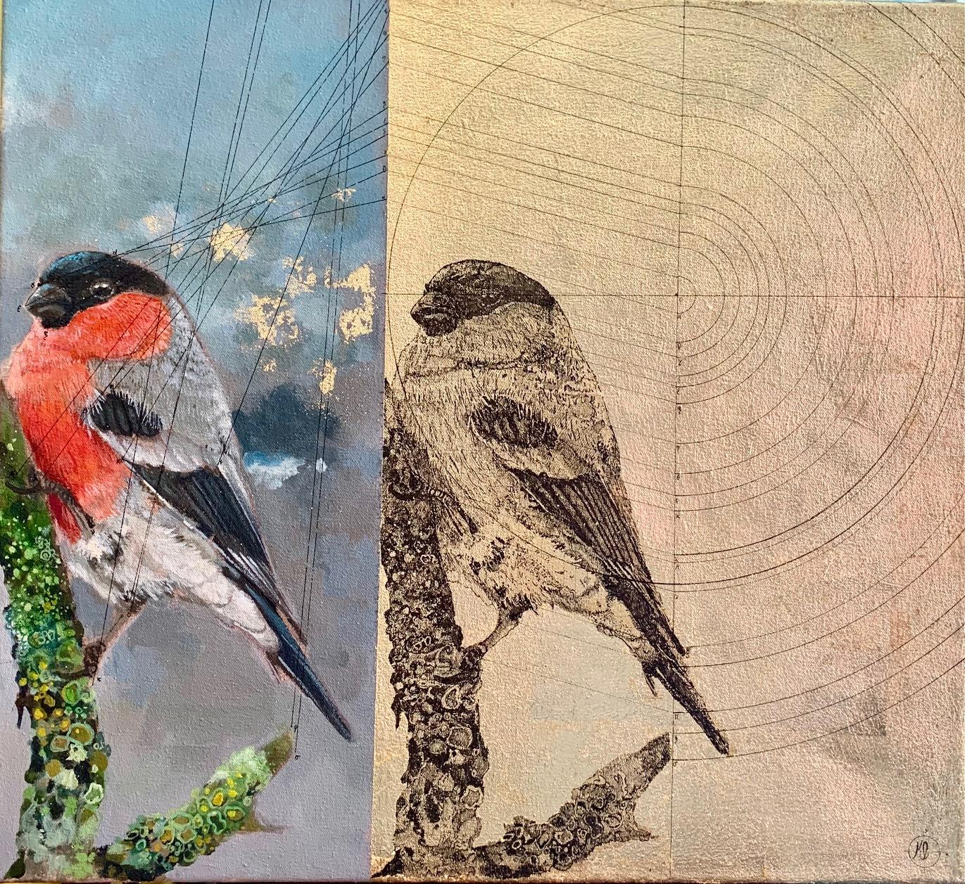 Geometry of a Bullfinch - contemporary decorative bird mixed media painting