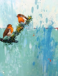 Aiko  -vibrant illustrative blue and orange birds painting acrylic on canvas