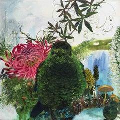 Apollo - contemporary animal acrylic painting flora fauna green bird flowers