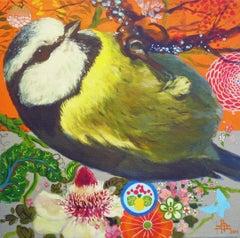 Blue Tit 5 -contemporary colourful bird flowers orange decorative acrylic canvas
