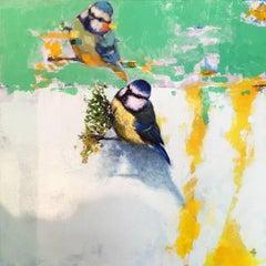 Bluetit 1 - contemporary vibrant white green bird painting acrylic canvas