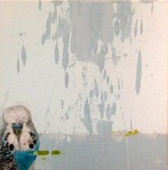 Cosmos - contemporary light blue bird abstract acrylic painting