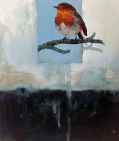 Daichi - contemporary blue illustrative bird painting acrylic on canvas