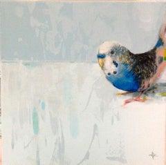 Elatum - contemporary acrylic bird painting light blue