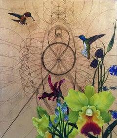 Emas 2 - contemporary mixed media ornamental decorative flowers birds painting