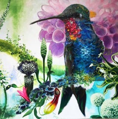 Hermes  -vibrant illustrative bird and flora painting acrylic on canvas