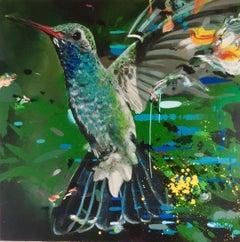 House of Abundance - contemporary multicoloured flying bird expressive acrylic