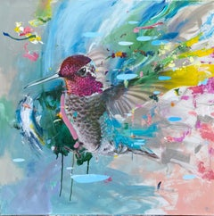 House of Hall - contemporary colourful hummingbird acrylic painting
