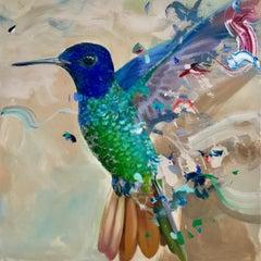 House of Hydrangea - contemporary hummingbird colourful acrylic painting