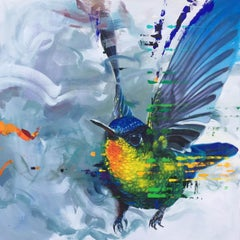 House of Ohara - contemporary flying bird painting expressive colourful bright
