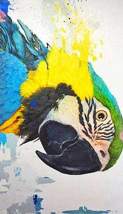 Louise -vibrant yellow and blue illustrative parrot painting acrylic on canvas