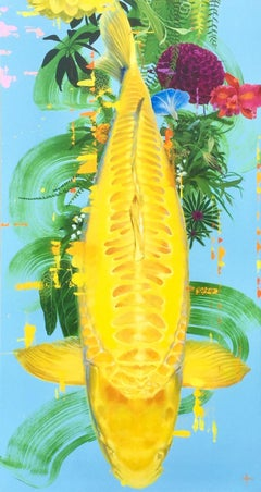 Mitsuko - contemporary yellow Koi Fish carp colourful floral acrylic painting