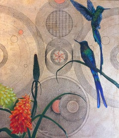Oro 12 -vibrant gold and blue illustrative ink bird painting acrylic on canvas
