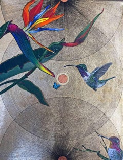 Oro 9 -vibrant gold and blue illustrative ink bird painting acrylic on canvas