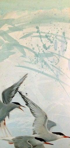 Soar - contemporary flying birds acrylic painting light blue