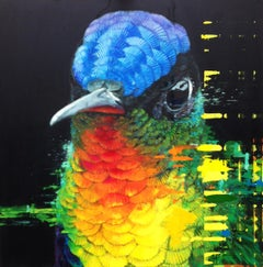 Spaceman - contemporary vibrant colorful black bird acrylic painting