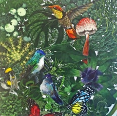 Victoria Everglot - contemporary birds floral multicoloured acrylic painting