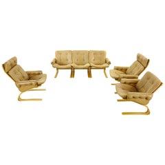 Kengu Seatgroup 3 Chairs and Sofa in Brown Leather by Solheim Für Rykken, Norway