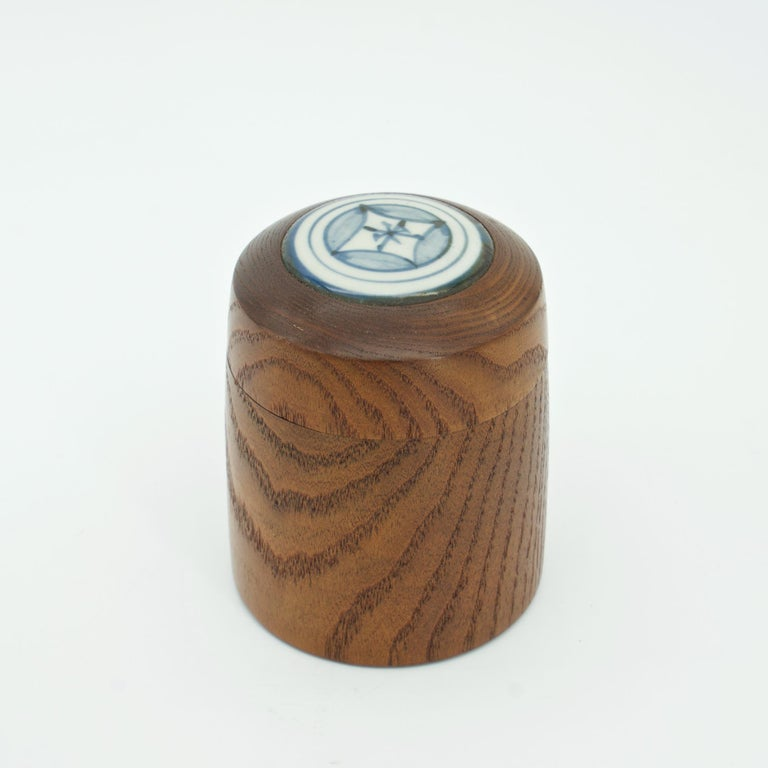 Tottori Japan, c.1950s Turned Oak Tea Caddy with Ceramic Inlay by ceramicist Kenji Fujita.