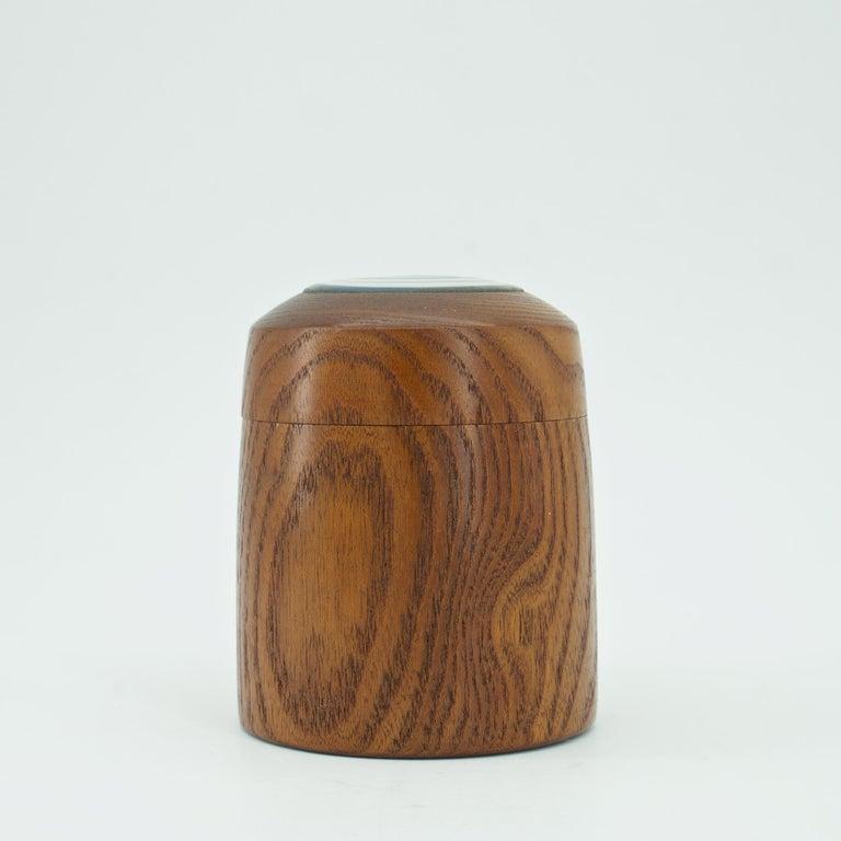 Mid-Century Modern Kenji Fujita Ceramic on Oak Jar Box Japanese Studio Craft Tea Caddy Tobacco For Sale