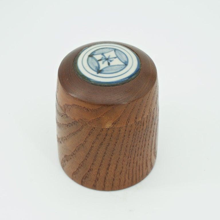 Turned Kenji Fujita Ceramic on Oak Jar Box Japanese Studio Craft Tea Caddy Tobacco For Sale