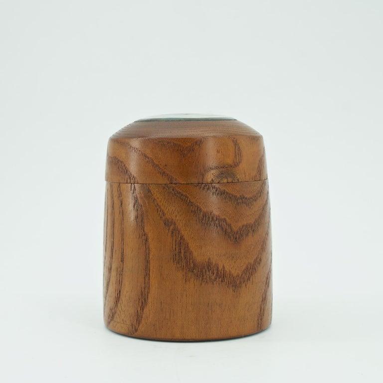 Mid-20th Century Kenji Fujita Ceramic on Oak Jar Box Japanese Studio Craft Tea Caddy Tobacco For Sale