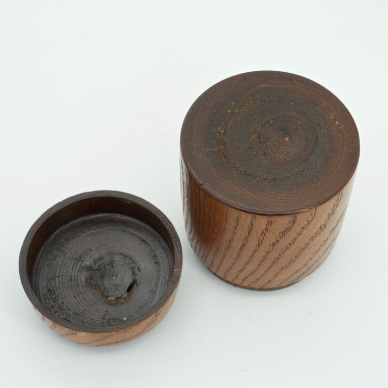 Wood Kenji Fujita Ceramic on Oak Jar Box Japanese Studio Craft Tea Caddy Tobacco For Sale