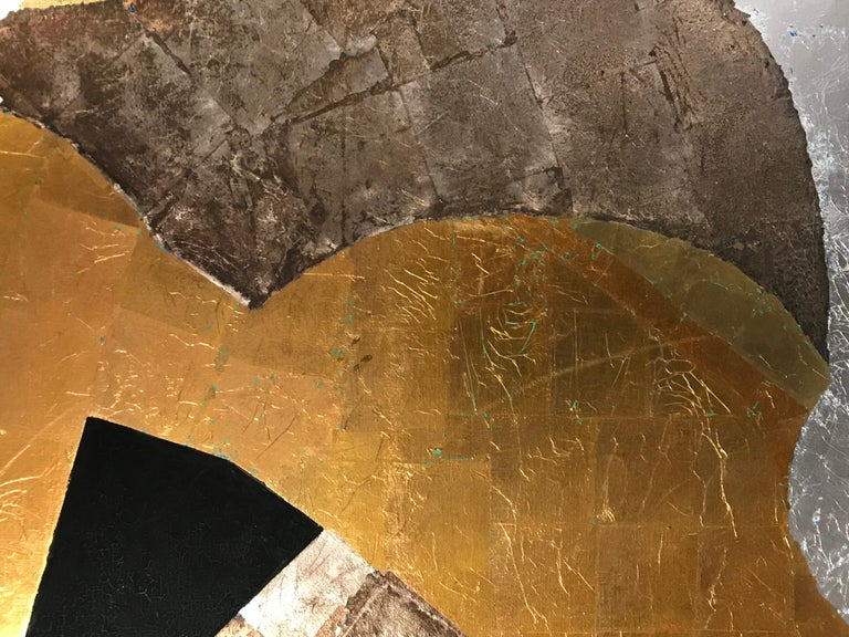 Amithaba, Kenji Yoshida, nihonga paintings, gold silver copper leaf Japanese  - Gold Abstract Painting by Kenji Yoshida