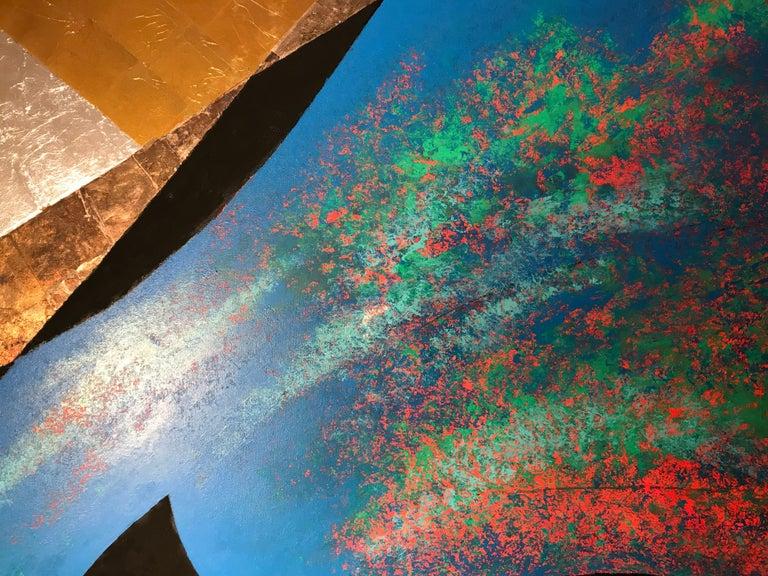 Amithaba, Kenji Yoshida, nihonga paintings, gold silver copper leaf Japanese  For Sale 1