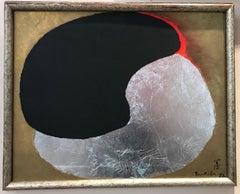 La Vie 58, by Kenji Yoshida Nihonga Japanese painting silver black red gold