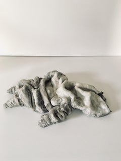 Ceramic figure lying down, sculpture: Figurative 'Wasted'