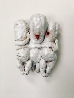 "Ceramic Sculpture Wall Hanging: Infant Terrible Series ""Prayer'"