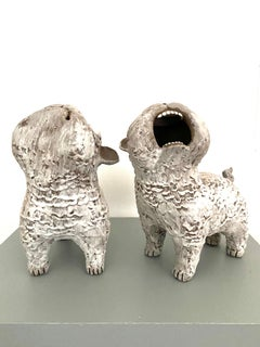Dark Ceramic Set of Dogs: 'Guardian Foo Dogs'