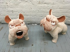 Set of Large Ceramic Dogs: 'Guardian Dogs, Cambodia 2'