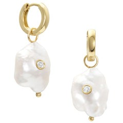 White/Space Kenna Pearl Hoops in 14 Karat Yellow Gold with Bezel Set Diamond