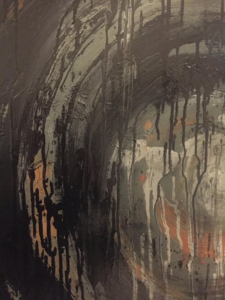 Contemporary Kennan Del Mar 'Black Hole on Black' Painting, Oil and Pastel on Canvas For Sale