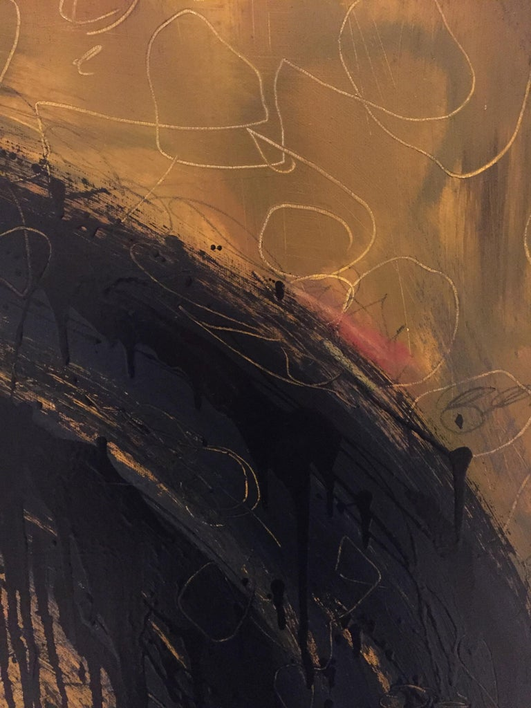 American Kennan Del Mar 'Black Hole on Yellow Gold' Painting, Oil and Pastel on Canvas For Sale