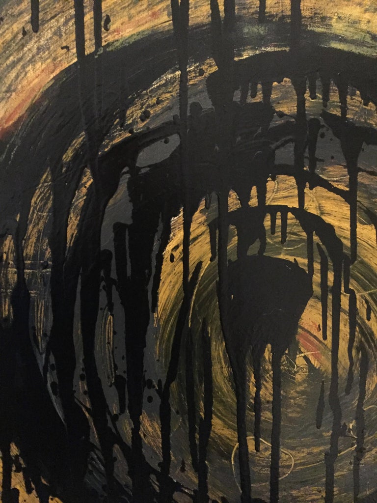 Kennan Del Mar 'Black Hole on Yellow Gold' Painting, Oil and Pastel on Canvas In New Condition For Sale In Chicago, IL