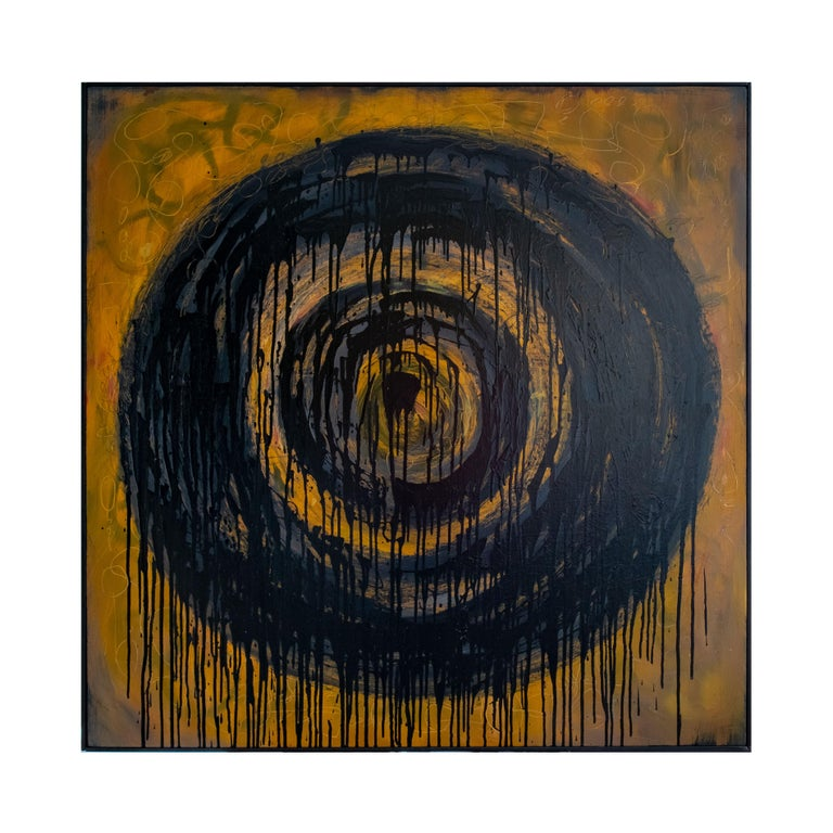 Contemporary Kennan Del Mar 'Black Hole on Yellow Gold' Painting, Oil and Pastel on Canvas For Sale