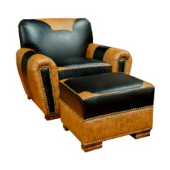 Kennedy Collection Customizable Leather Lodge Chair and Ottoman
