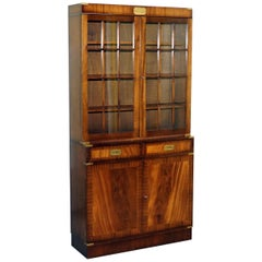 Kennedy Furniture Harrods Military Campaign Mahogany Bookcase Cupboard Cabinet